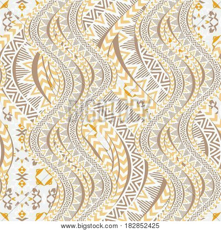 Ethnic waves seamless pattern. Tribal motifs. Abstract geometric shapes. Vintage background. Vector illustration.