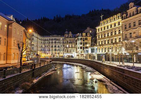 Winter in Karlovy Vary. Karlovy Vary (Carlsbad) Bohemia Czech Republic.
