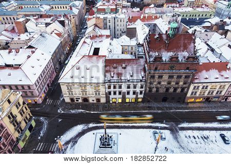 Old Town Hall and Plague Column on Republic Square in Pilsen - aerial view. Pilsen Bohemia Czech Republic.