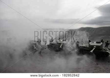 Battle Tanks Moving In The Desert In Fog. War Scene Decoration. Soldiers