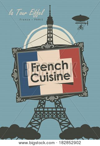 vector banner for a restaurant French cuisine with french flag and Eiffel Tower