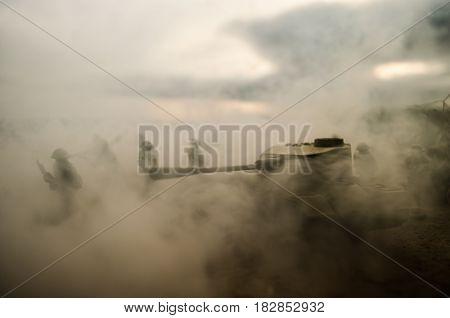 Battle Tanks Moving In The Desert In Fog. War Scene Decoration. Soldiers
