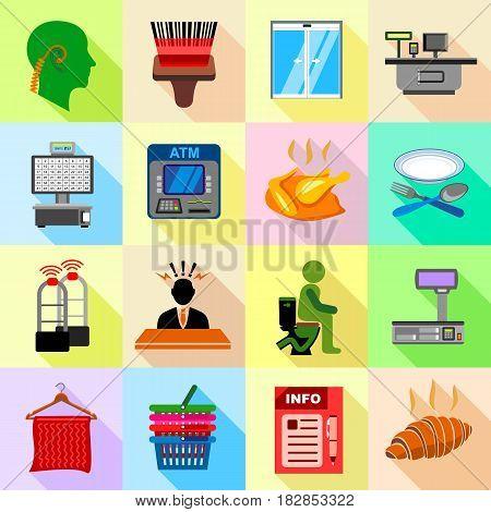 Supermarket service icons set. Flat illustration of 16 supermarket service vector icons for web