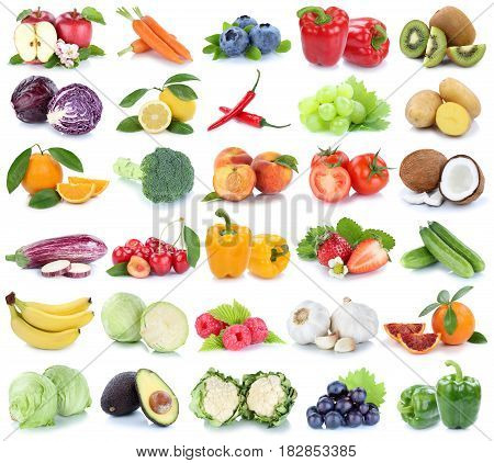 Fruits And Vegetables Collection Isolated Apple Orange Banana Grapes Tomatoes Fresh Fruit