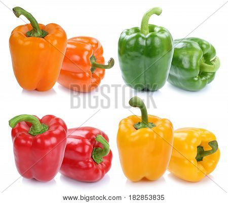 Bell Pepper Peppers Collection Paprika Paprikas Colorful Vegetable Isolated On White
