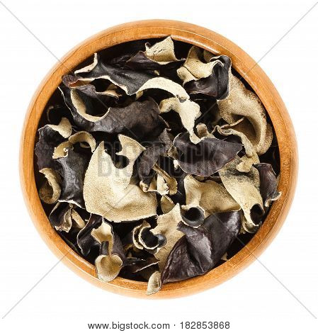 Dried black fungus in wooden bowl. Auricularia auricula-judae, also known as Jew's, wood or jelly ear, or Mu Err. Ingredient in Chinese dishes. Macro food photo close up from above on white background