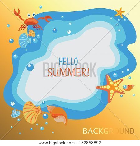 Summer, sea, shells, crabs and sea stars. Yellow-orange background. Banner design, poster with children's characters cartoon sea creatures.