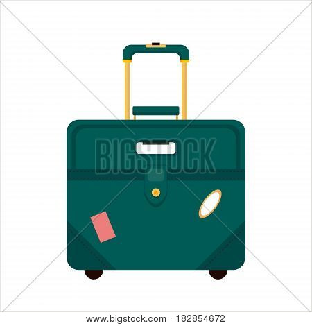 Flat blue color trip suitcase for tourism vacation, with travelers stickers isolated on white background - vector stock illustration.