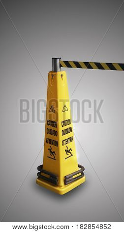Beware of slippery yellow sign on gray background