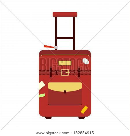 Flat red color trip suitcase for tourism vacation, with travelers stickers isolated on white background - vector stock illustration.