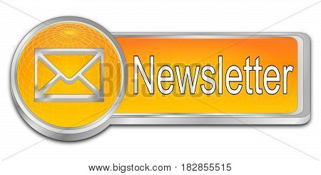 decorative glossy orange Newsletter Button - 3D illustration