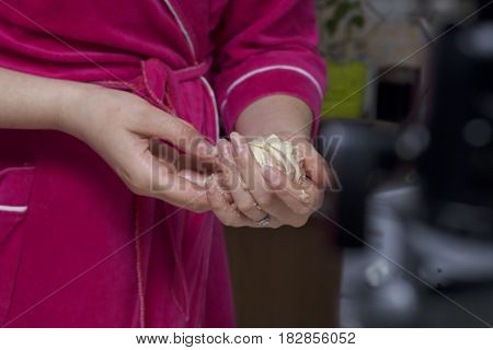 Preparation Of Meat Glomeruli. Stuffed Turkey, Wrapped In Strips Of Puff Pastry. A Woman Is Holding