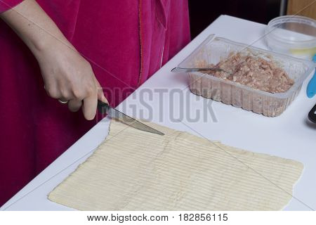Stages Of Preparation Of Meat Glomeruli. A Woman Slices Thin Strips Of Dough. Next To The Table Is A