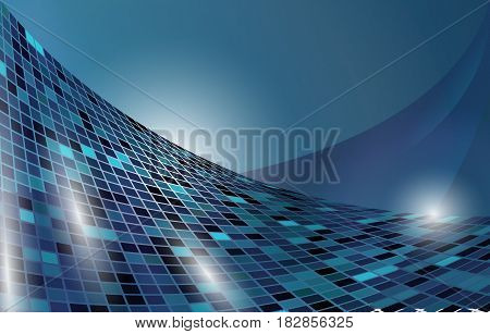 Abstract futuristic blue waves vector background. Cyber motion energy backdrop. Elegant dark surface creative template.