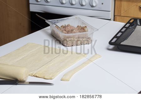 Ingredients For Cooking Meatballs. On The Table Is The Dough, Stuffing And Tools.
