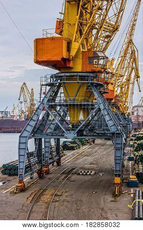 Park of portal cranes, Ukraine. Odessa is the biggest sea commercial port of Ukraine.
