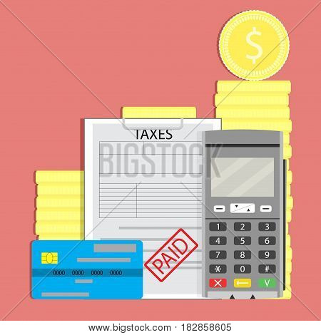 Concept tax paid. Taxation transaction transfer pay money vector illustration