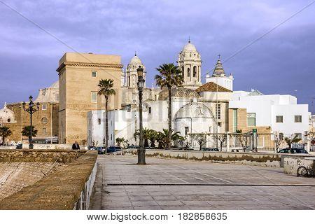 CADIZ SPAIN - APRIL 8, 2017 Cathedral church of Cadiz