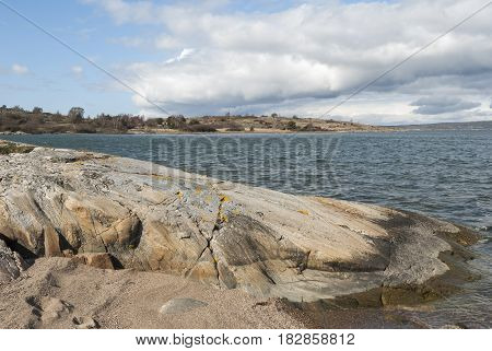 Rocky shore at the coast, nature in Sweden