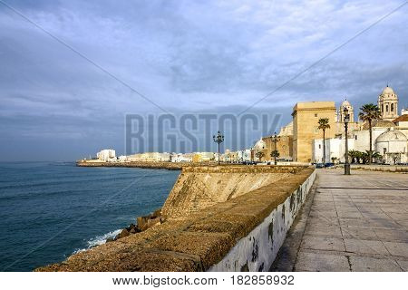 Cadiz town, Spain. Sea front and old Cathedral