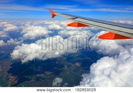 Wing of a plane during the flight