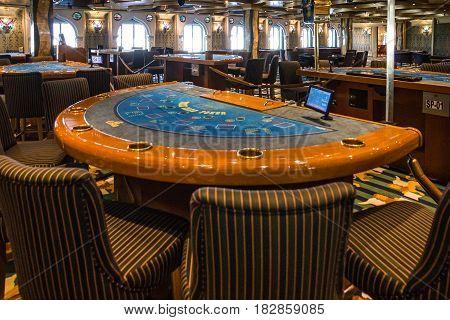 Cruise liner Costa Mediterranea - Jan 30, 2017: Gaming casino interior