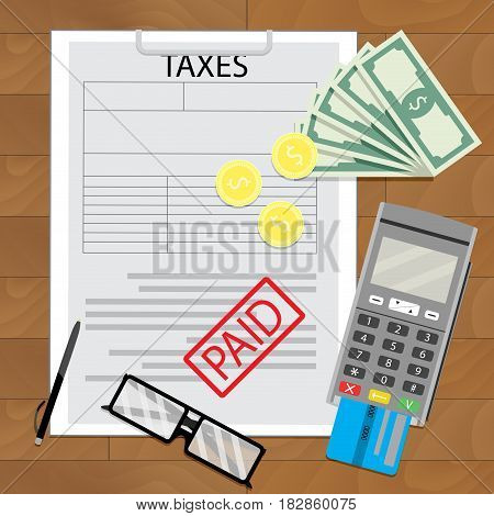 Taxation in business tax paid document credit card and transfer payment vector illustration