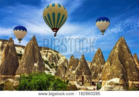 Flying balloons, Cappadocia, Turkey. Goreme national park