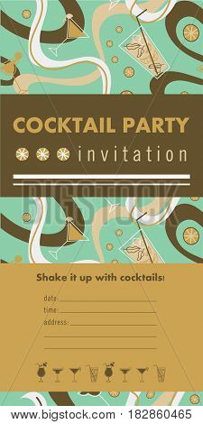 Cocktail party vertical invitation card template with cocktails, citrus, waves. Green and gold colors. Place for your text.