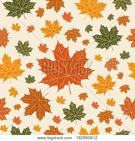Autumnal  seamless  pattern on beige background. Vector illustration for your design project.