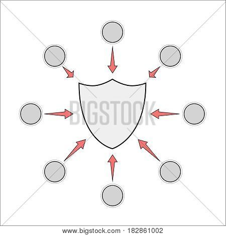 Template for advertising protection properties. Shield illustration. vector