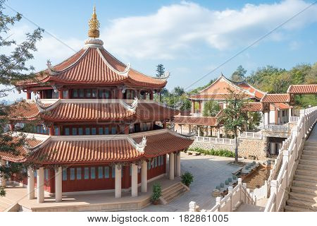 Fujian, China - Dec 28 2015: Southern Shaolin Monastery. A Famous Historic Site In Quanzhou, Fujian,