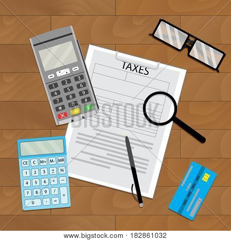Accounting tax paying pay taxation money transfer and tax document vector illustration