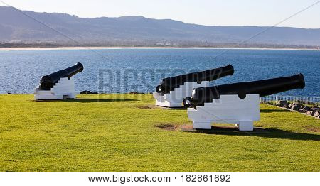 Old cannons placed to defend Wollongong, Australia, early in its settlement