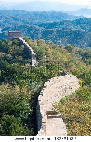 Beijing, China - Oct 15 2015: Yunmeng Moutain Section Of The Great Wall. A Famous Historic Site In B