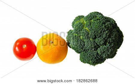 Fresh ripe tomato broccoli and orange isolated on white background