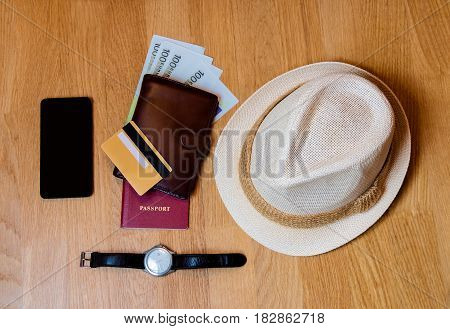 Travel accessories. Hat wallet passport prepared for the trip
