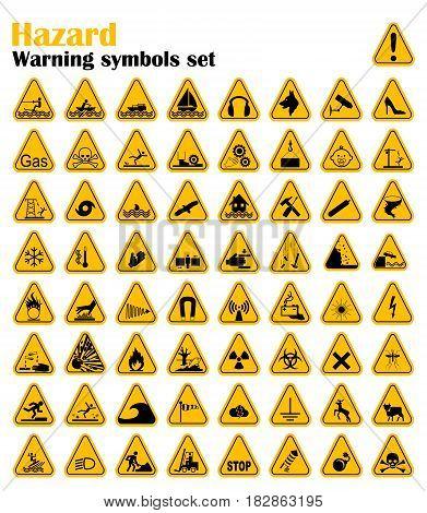 Warning Hazard Triangle Signs Set. Vector illustration. Yellow symbols isolated on white.