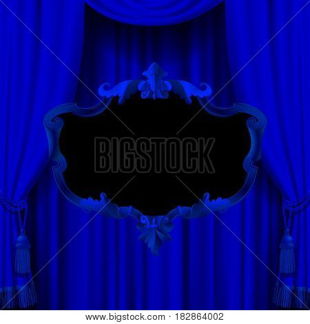 Suspended decorative baroque frame on the blue curtain background. Square presentation artistic poster and placard