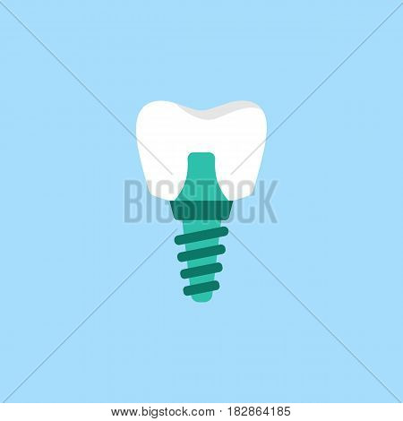Dental implant flat icon, Dental and medicine, vector graphics, a colorful solid pattern on a blue background, eps 10.