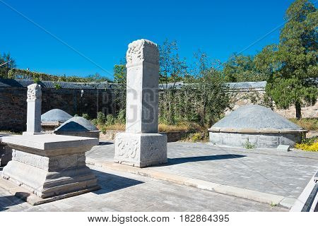 Beijing, China - Oct 12 2015: Tianyi Tomb(eunuch Tomb). A Famous Historic Site In Beijing, China.