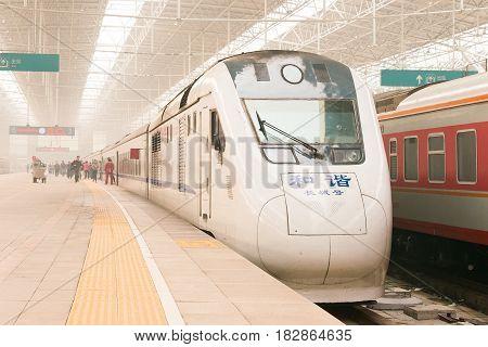 Beijing, China - Oct 17 2015: China Railways Ndj3 In Beijing North Railway Station, Beijing, China.