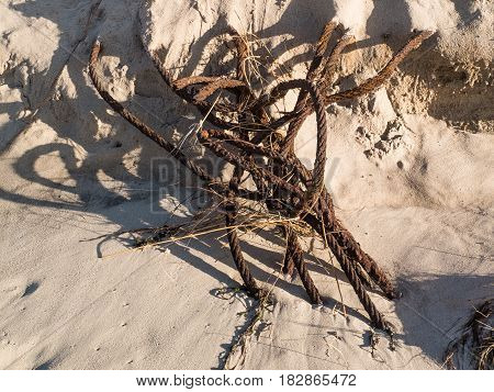 metal wire that is weathered lies half buried in the sand at the beach
