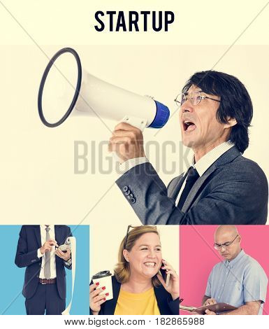 Studio People Collage Business Startup Concept