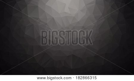 Abstract Background Made Of Small Triangles. Dark, Black, Floodlight, Lamp, Gradient
