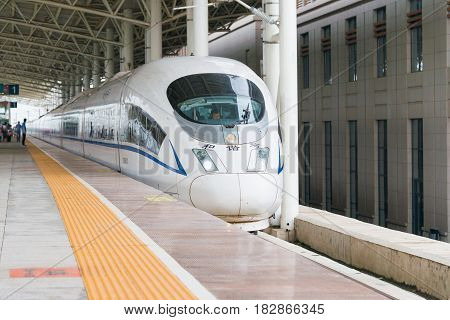 Liaoning, China -  Aug 02 2015: China Railways Crh380Bg Electric High-speed Train In Tieling West Ra