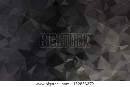 Abstract Background Made Of Small Triangles. Dark, Black, Floodlight, Lamp, Gradient, Yellow