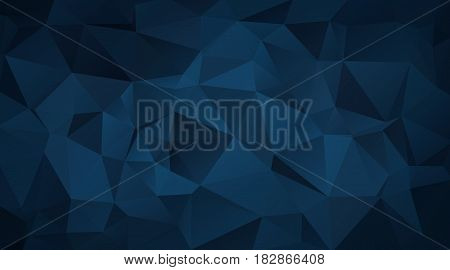 Abstract Background Made Of Small Triangles. Dark Blue