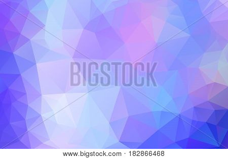 Abstract Background Made Of Small Multicolor Triangles. Lilac, Pink, Blue, White