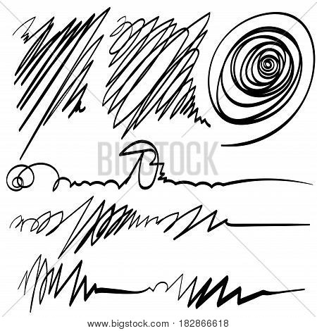 Set of Scribble scribble freehand vector drawing hand